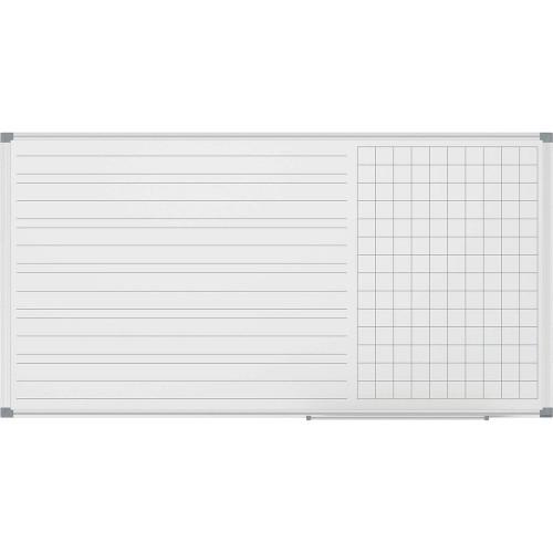 Бяла дъска 120/240 с алуминиева рамка, с тесни и широки редове и квадратчета