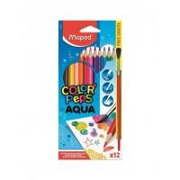 Цветни моливи акварелни Maped color'peps 12цвята + четка