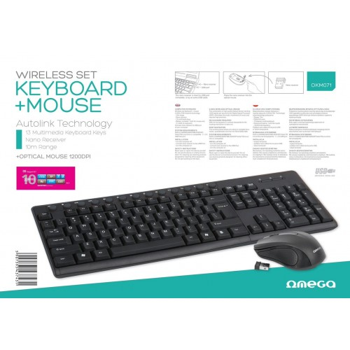 OMEGA Комплект мишка и клавиатура, 43743 безжични, черни