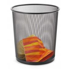 Кош за хартиени отпадъци, метален, мрежест, 12 L, черен