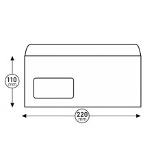 Пощенски плик, DL, 110 x 220 mm, хартиен, със самозалепваща лента, бял, 100 броя, с ляв прозорец