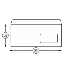 Пощенски плик, DL, 110 x 220 mm, хартиен, със самозалепваща лента, бял, 100 броя, с десен прозорец