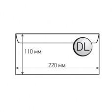 Пощенски плик, DL, 110 x 220 mm, хартиен, със самозалепваща лента, бял, 100 броя