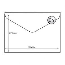 Пощенски плик, C4, 229 x 324 mm, хартиен, с триъгълен капак, бял, 50 броя