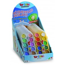TOY COLOR Водни бои брокат 12 цвята с четка